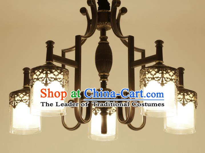 China Handmade Five-Lights Iron Ceiling Lanterns Traditional Chinese Palace Lantern Ancient Lanterns