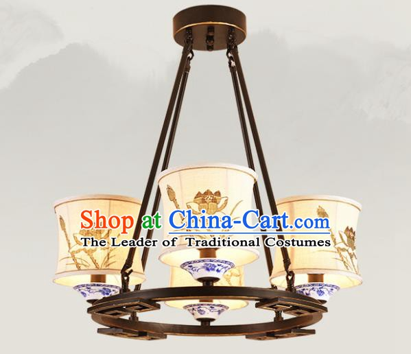 China Handmade Four-Lights Ceiling Lanterns Traditional Chinese Painting Lotus Palace Lantern Ancient Lanterns