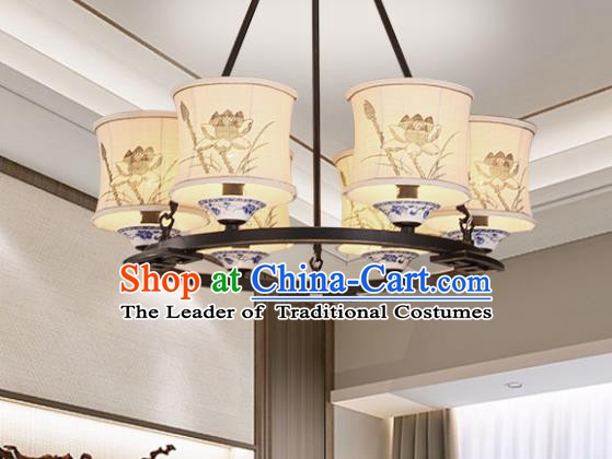 China Handmade Six-Lights Ceiling Lanterns Traditional Chinese Painting Lotus Palace Lantern Ancient Lanterns