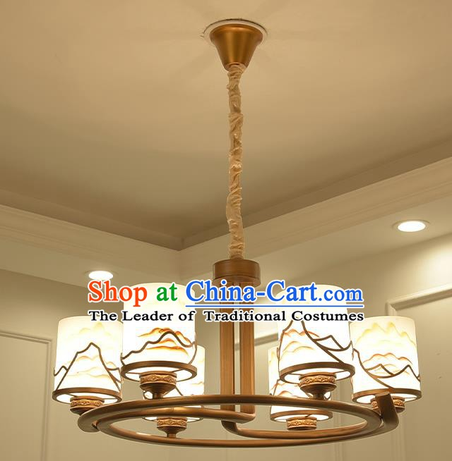 China Handmade Ceiling Lanterns Traditional Chinese Painted Six-Lights Palace Lantern Ancient Lanterns