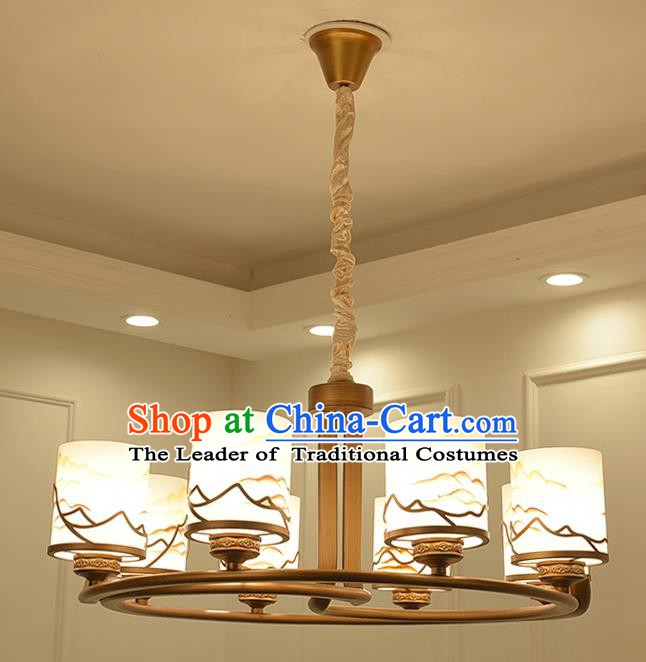 China Handmade Ceiling Lanterns Traditional Chinese Painted Eight-Lights Palace Lantern Ancient Lanterns