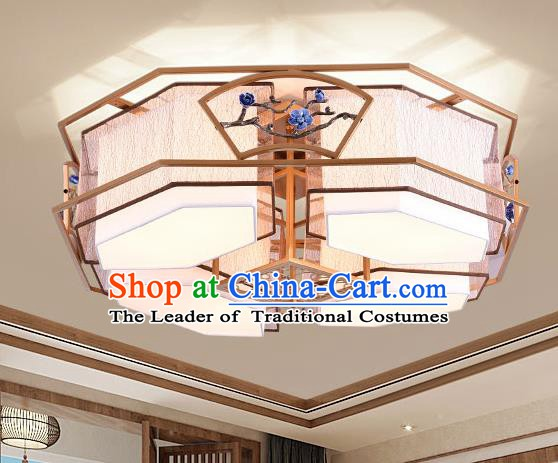 China Handmade Four-Lights Ceiling Lanterns Traditional Chinese Embroidered Palace Lantern Ancient Lanterns