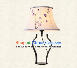 Traditional Chinese Palace Lantern Handmade Painted Purple Flowers Desk Lanterns Ancient Lamp