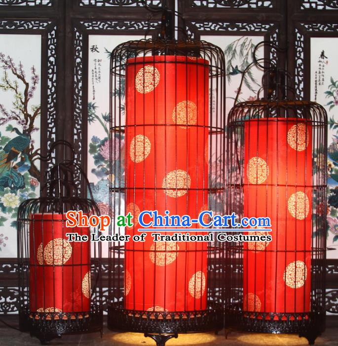 Top Grade Handmade Red Birdcage Palace Lanterns Traditional Chinese Lantern Ancient Ceiling Lanterns
