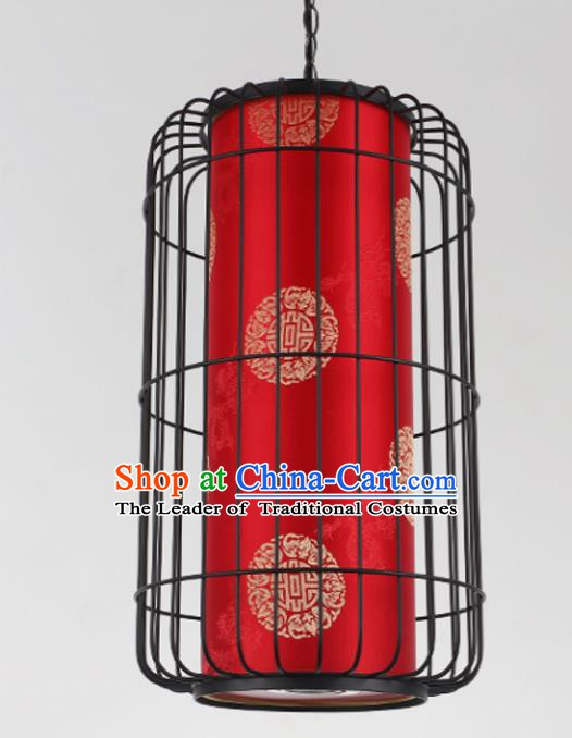 Top Grade Handmade Red Palace Lanterns Traditional Chinese Iron Lantern Ancient Ceiling Lanterns