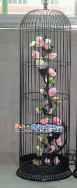 Top Grade Handmade Pink Flowers Palace Lanterns Traditional Chinese Iron Lantern Ancient Ceiling Lanterns