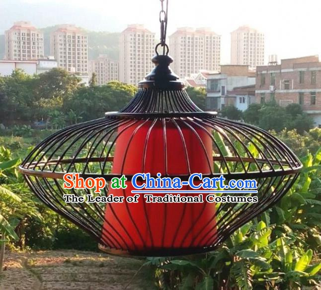 Top Grade Handmade Iron Red Lanterns Traditional Chinese Hanging Palace Lantern Ancient Ceiling Lanterns