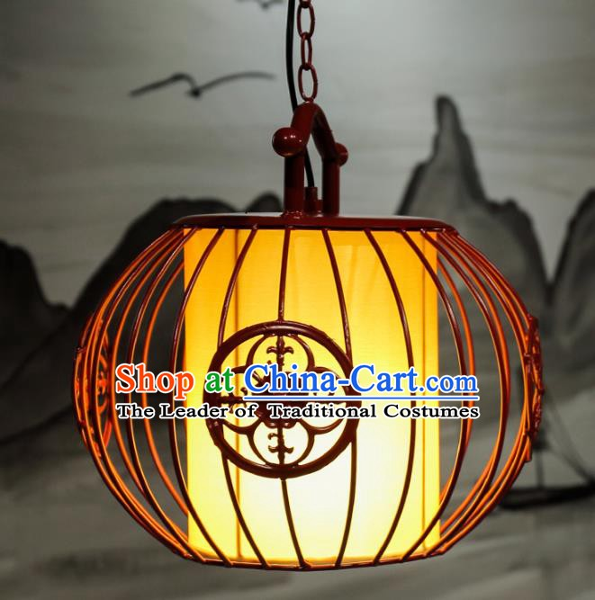 Top Grade Handmade Red Birdcage Palace Lanterns Traditional Chinese Iron Lantern Ancient Ceiling Lanterns