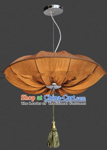 Top Grade Handmade Brown Lotus Leaf Lanterns Traditional Chinese Palace Lantern Ancient Ceiling Lanterns