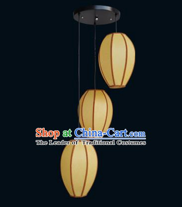 Top Grade Handmade Hanging Three-Lights Lanterns Traditional Chinese Ceiling Palace Lantern Ancient Lanterns