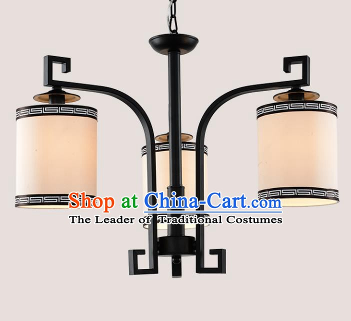 Top Grade Handmade Three-Lights Iron Lanterns Traditional Chinese Ceiling Palace Lantern Ancient Lanterns