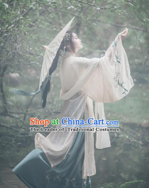 Ancient Traditional Chinese Han Dynasty Princess Costume Embroidered Hanfu Dress for Women