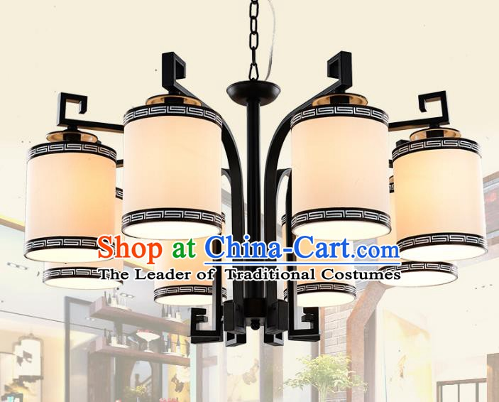 Top Grade Handmade Eight-Lights Iron Lanterns Traditional Chinese Ceiling Palace Lantern Ancient Lanterns