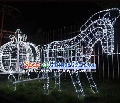 Handmade Stage Performance Lamplight Decorations LED Lamp Christmas Horse-Drawn Vehicle Lanterns
