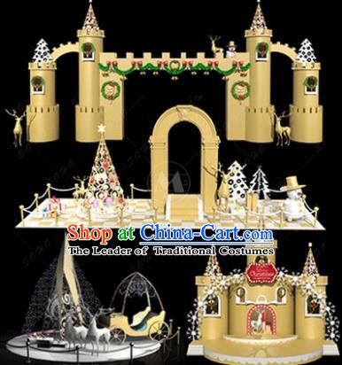 Traditional Christmas Castle Light Show Decorations Lamps Stage Display Lamplight LED Lanterns