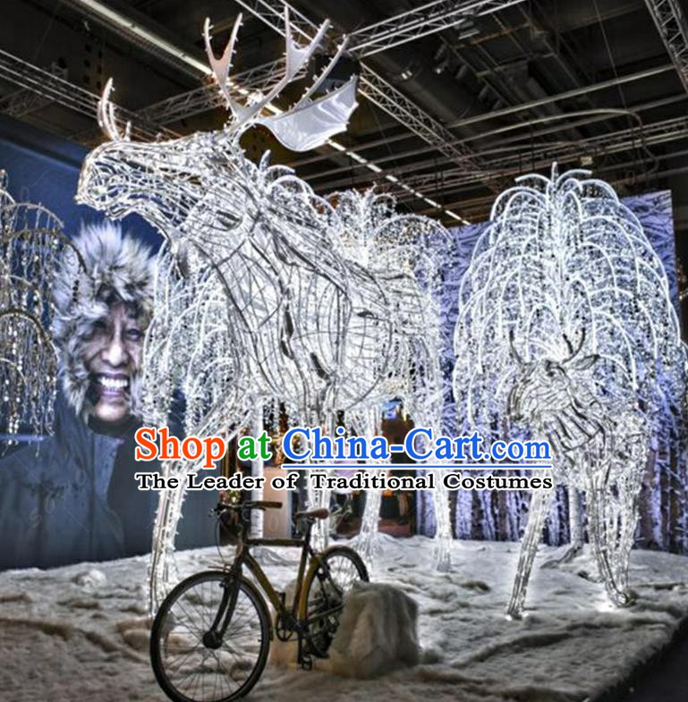 Traditional Christmas Elk Light Show Decorations Lamps Stage Display Lamplight LED Lanterns