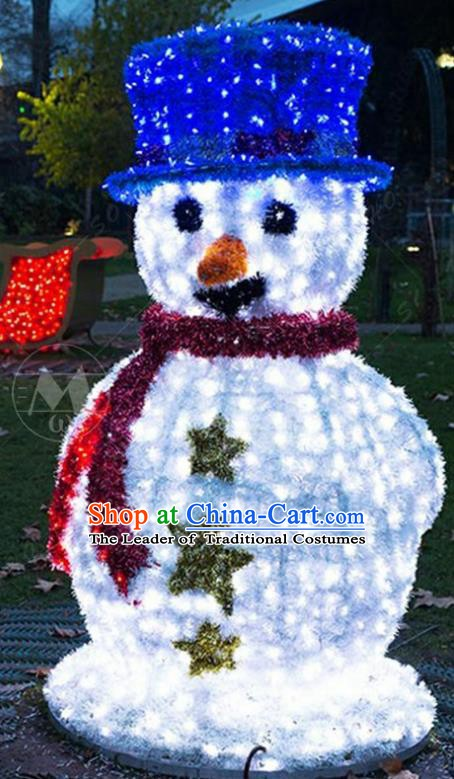 Traditional Christmas Snowman Light Show Decorations Lamps Stage Display Lamplight LED Lanterns
