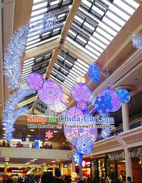 Traditional Christmas Snowflake Light Show Decorations Lamps Stage Display Lamplight LED Lanterns