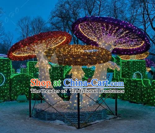 Traditional Christmas Light Show Mushroom Decorations Lamps Stage Display Lamplight LED Lanterns