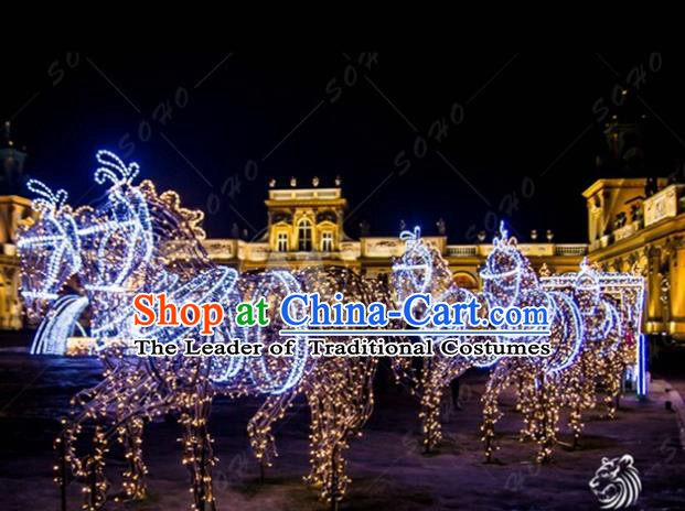 Traditional Christmas Horses Light Show Decorations Lamps Stage Display Lamplight LED Lanterns