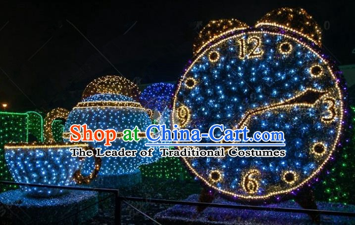 Traditional Christmas Light Show Horologe Decorations Lamps Stage Display Lamplight LED Lanterns