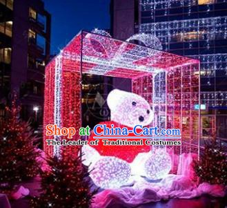 Traditional Christmas LED Light Show Bear Decorations Lamps Stage Display Lamplight Lanterns