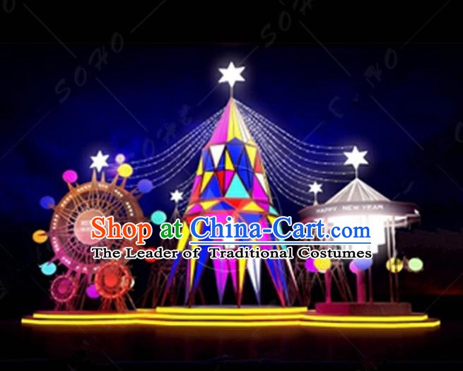 Traditional Christmas LED Light Show Ferris Wheel Lamplight Decorations Stage Display Lanterns