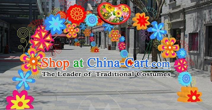Handmade China Spring Festival Lights Flowers Archway Arrangement Lamplight Decorations Stage Display Lanterns