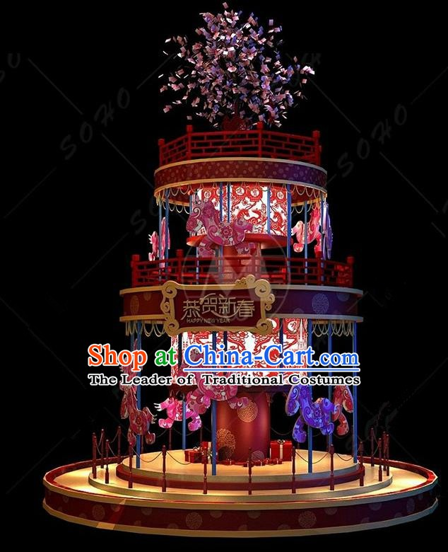Handmade China Spring Festival Lamp Carousel Lamplight Decorations Stage Display Lanterns
