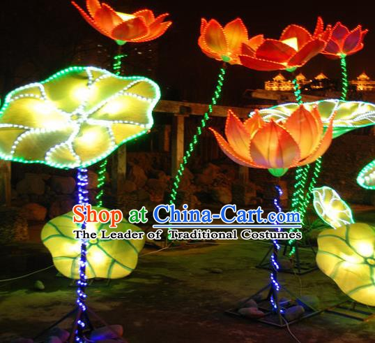 Handmade China Traditional New Year Lamplight Decorations LED Lamp Lotus Leaf Lanterns