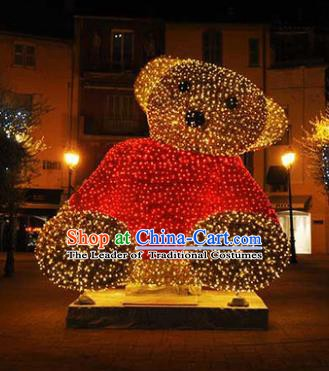 Traditional Handmade Christmas Lights Show Decorations Shiny Bear Lamplight LED Lanterns