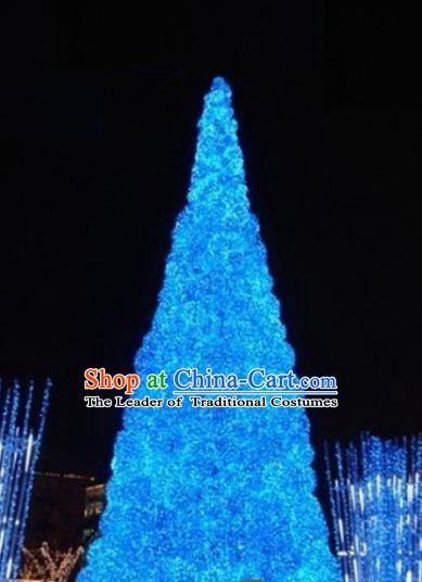 Traditional Handmade Christmas Light Show Decorations Blue Shiny Christmas Tree Lamplight LED Lanterns