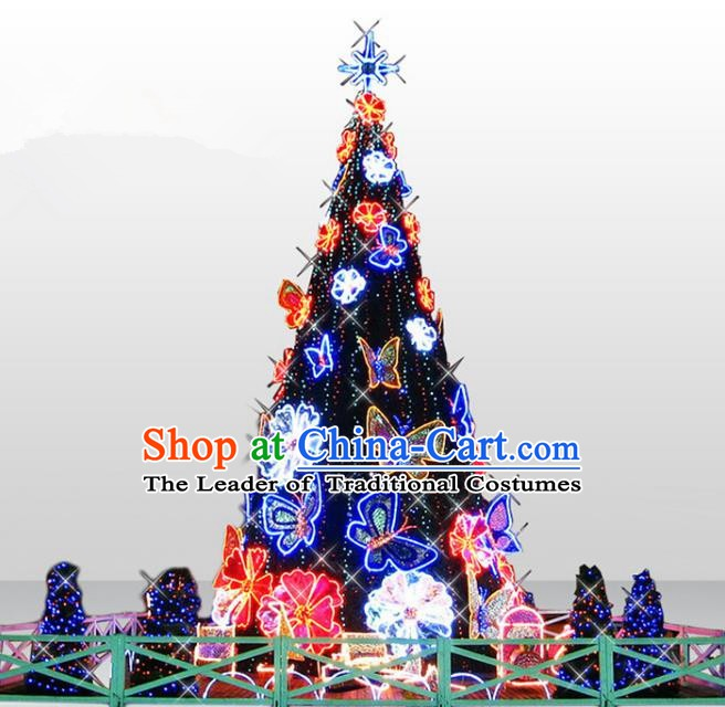 Traditional Handmade Christmas Light Show Decorations Shiny Butterfly Christmas Tree Lamplight LED Lanterns
