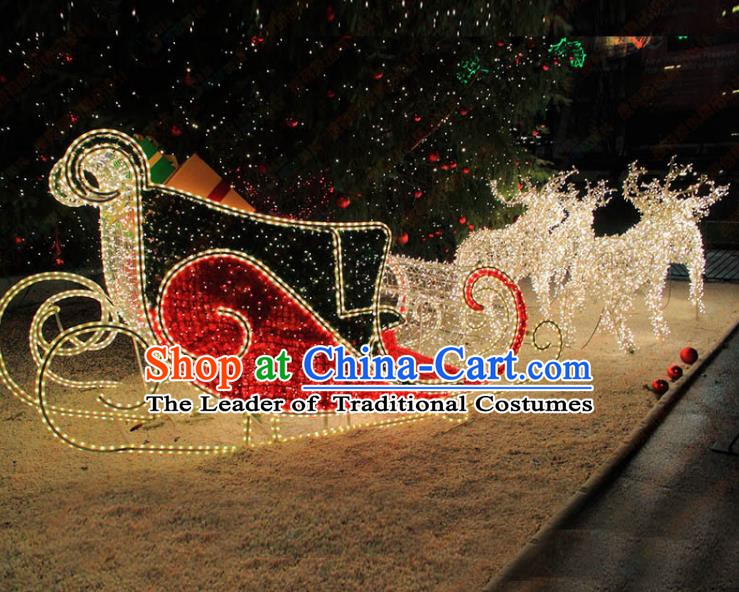 Traditional Handmade Christmas Light Show Decorations Shiny Christmas Sleigh Lamplight LED Lanterns