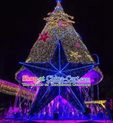 Traditional Shiny Christmas Tree Stage Lights Stars Display Decorations Lamplight LED Lanterns