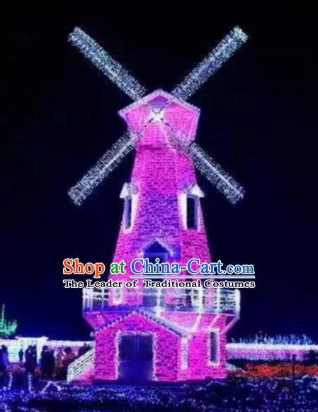 Traditional Windmill Light Show Decorations Lamps Stage Display Lamplight LED Lanterns