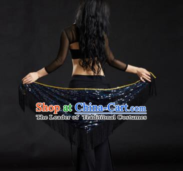 Indian Belly Dance Black Tassel Waist Scarf Belts India Raks Sharki Waistband for Women