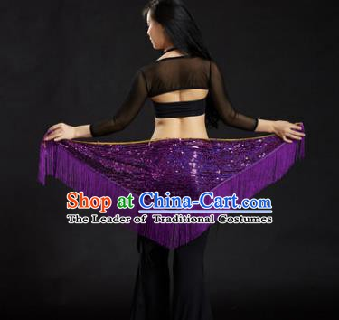 Indian Belly Dance Purple Tassel Waist Scarf Belts India Raks Sharki Waistband for Women