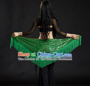 Indian Belly Dance Green Tassel Waist Scarf Belts India Raks Sharki Waistband for Women