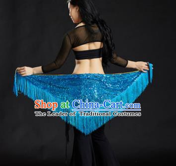 Indian Belly Dance Blue Tassel Waist Scarf Belts India Raks Sharki Waistband for Women