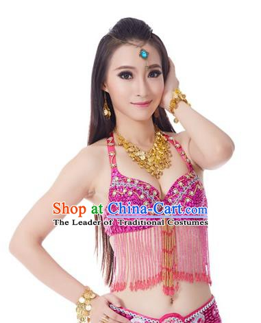 Indian National Belly Dance Tassel Rosy Brassiere Bollywood Oriental Dance Costume for Women