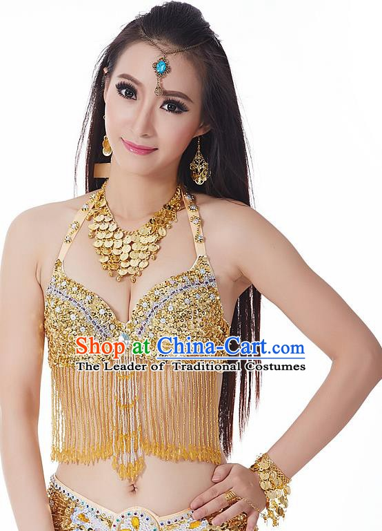 Indian National Belly Dance Tassel Golden Brassiere Bollywood Oriental Dance Costume for Women