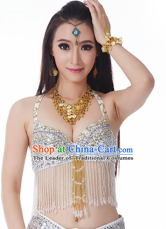 Indian National Belly Dance Tassel White Brassiere Bollywood Oriental Dance Costume for Women