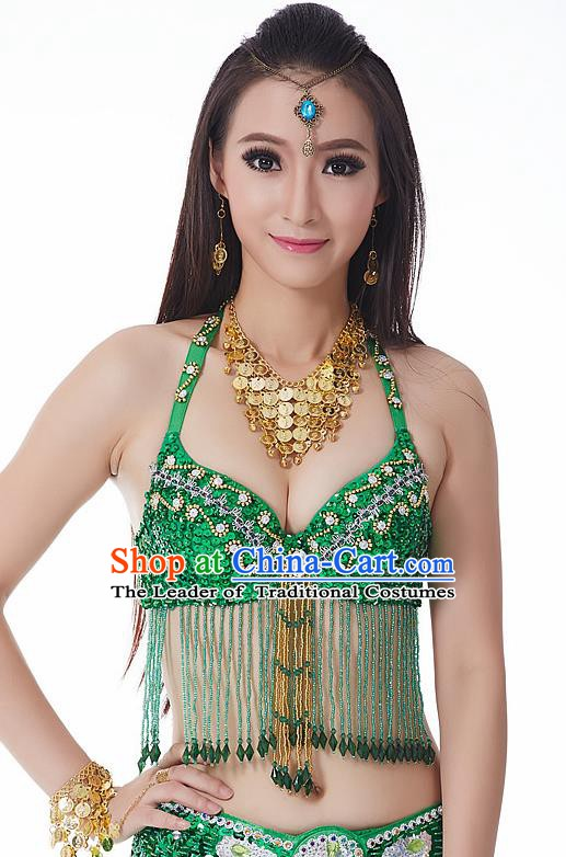 Indian National Belly Dance Tassel Green Brassiere Bollywood Oriental Dance Costume for Women