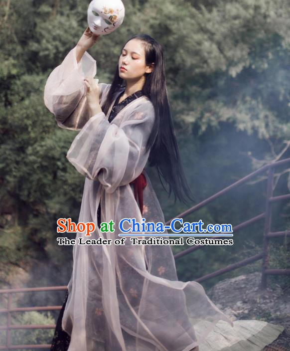 Traditional Chinese Wei and Jin Dynasty Princess Embroidered Hanfu Costume for Women