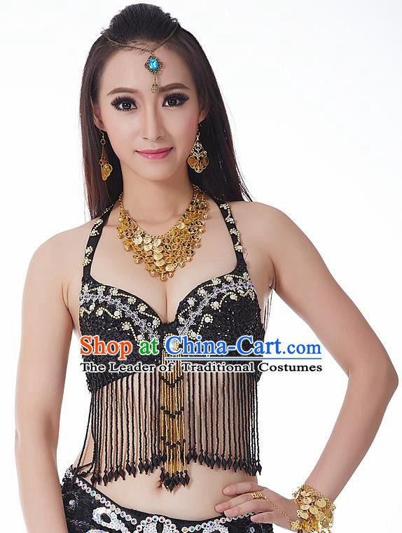 Indian National Belly Dance Tassel Black Brassiere Bollywood Oriental Dance Costume for Women