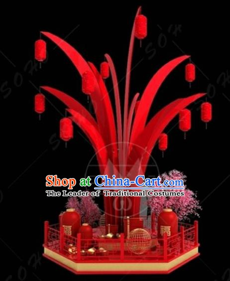 China Traditional New Year Lamp Red Tree Lamplight Decorations Stage Display Lanterns