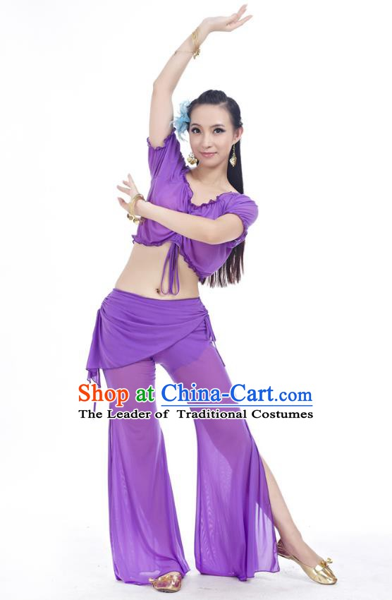 Indian Traditional Belly Dance Deep Purple Costume India Oriental Dance Clothing for Women