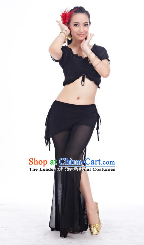 Indian Traditional Belly Dance Black Costume India Oriental Dance Clothing for Women