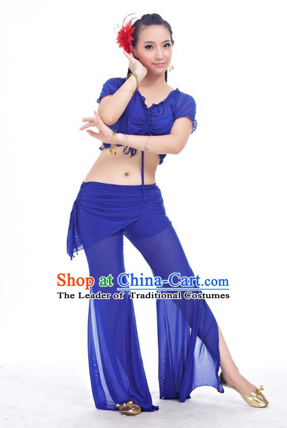 Indian Traditional Belly Dance Royalblue Costume India Oriental Dance Clothing for Women